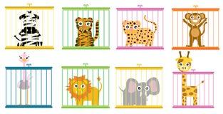 Animais selvagens atrás da vertente no grupo do jardim zoológico ilustração do vetor