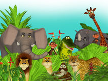 animais selvagens da selva dos desenhos animados 3d Imagem de Stock