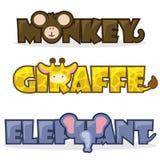 Animais selvagens dos desenhos animados bonitos ajustados Imagens de Stock