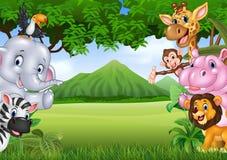Animais selvagens dos desenhos animados com fundo da paisagem da natureza Imagens de Stock