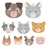 Animais selvagens e domésticos Um grupo de imagens sobre animais Ícone animal do focinho na coleção do grupo no vetor do estilo d Imagens de Stock Royalty Free
