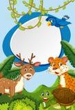 Animais selvagens no quadro da natureza ilustração do vetor