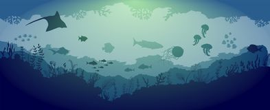 Animais selvagens subaquáticos do recife no fundo azul do mar ilustração royalty free