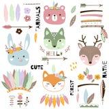 Animais tribais bonitos ajustados Ilustração do vetor do animal selvagem ilustração do vetor