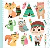Animais tribais bonitos e rapaz pequeno Imagens de Stock