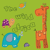 Animal. The giraffe, hedgehog, elephant, turtle and a snail on a green background. The inscription The wild africa Stock Photos