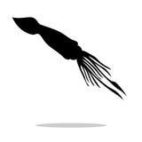 Animal acuático de la silueta negra del calamar stock de ilustración