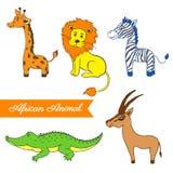 Animal africain de bande dessinée, girafe, lion, zèbre, crocodile, gazelle Photos libres de droits