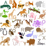Animal alphabet. 26 animals of the alphabet, uploaded with Ai Illustrator 10 Stock Photo