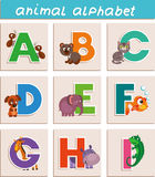 Animal alphabet_abcdefghi. Vector Animal Alphabet. Letter. Cartoon. Isolated objects royalty free illustration