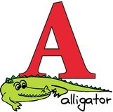 Animal alphabet A (alligator) Royalty Free Stock Image