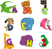 Animal alphabet alphabetical list of animals. Animal Icons representing alphabet  illustration Stock Images