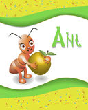 Animal alphabet ant. With a colored background Stock Image