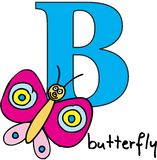 Animal alphabet B (butterfly) royalty free stock image