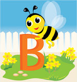 Animal Alphabet B. Illustration of alphabet letter B with a bee and a cute background stock illustration