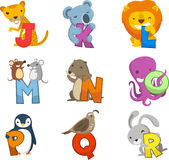 Animal Alphabet with balls to fill in letters numbers symbols Royalty Free Stock Image