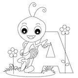 Animal Alphabet A Coloring page. Coloring page for kids. Animal alphabet letter A illustration [Line art] with a cute little happy ant isolated on white vector illustration