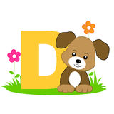 Animal alphabet D. Illustration of alphabet letter D with a cute little dog / puppy sitting on grass isolated on white background. D is for Dog Stock Photo