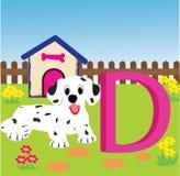 Animal alphabet D. Illustration of alphabet letter D with a cute dog , d is for dog Stock Illustration