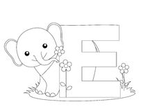 Animal Alphabet E Coloring page. Illustration of alphabet letter E with a cute little Elephant on grass with a beautiful flower isolated on white background royalty free illustration