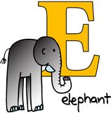 Animal alphabet E (elephant) Royalty Free Stock Photography
