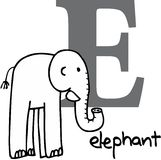 Animal alphabet E (elephant) Stock Image
