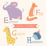 Animal Alphabet. Elephant, Fox, Giraffe, Hedgehog. Part 2. Vector illustration of cute animals: Elephant, Fox, Giraffe, Hedgehog. For children education. Animal Royalty Free Illustration