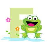 Animal alphabet F. Illustration of alphabet letter F with a cute little Frog on water with beautiful flowers isolated on white background. F is for Frog vector illustration