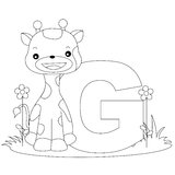 Animal Alphabet G Coloring page. Illustration of alphabet letter G with a cute little giraffe on grass with beautiful flowers isolated on white background. Kids stock illustration