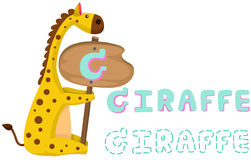 Animal alphabet g with giraffe Royalty Free Stock Photography