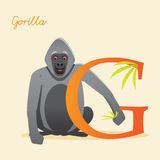 Animal alphabet with gorilla. Vector illustration Royalty Free Stock Photos