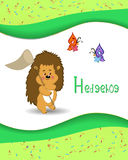 Animal alphabet hedgehog with a colored background Stock Images