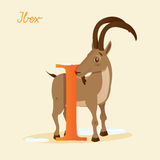 Animal alphabet with ibex. Vector illustration Royalty Free Stock Photography
