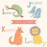 Animal Alphabet. Iguana, Jellyfish, Kangaroo, Lion. Part 3. Vector illustration of cute animals: Iguana, Jellyfish, Kangaroo, Lion. For children education Royalty Free Illustration
