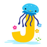 Animal alphabet J. Illustration of alphabet letter J with a cute little Jellyfish with beautiful flowers isolated on white background. J is for Jellyfish stock illustration