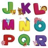 Animal alphabet J to R. Illustration of isolated animal alphabet J to R on white Royalty Free Stock Photo