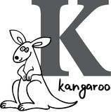 Animal alphabet K (kangaroo) Royalty Free Stock Image