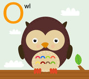 Animal alphabet for the kids: O for the Owl Royalty Free Stock Photos