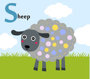 Animal alphabet for the kids:S for the Sheep Royalty Free Stock Images
