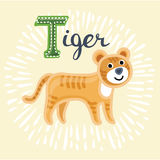 Animal alphabet for the kids: T for the Tiger Stock Photo