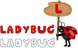 Animal alphabet L with Ladybug Royalty Free Stock Photo