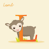 Animal alphabet with lamb. Vector illustration Royalty Free Stock Images