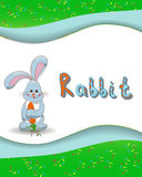 Animal alphabet letter R and rabbit. With a colored background Stock Images