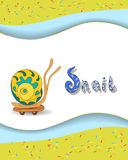 Animal alphabet letter S and snai. Animal alphabet letter S and rsnail with a colored background Royalty Free Stock Image
