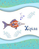 Animal alphabet letter X and xipias with a colored. Background. This is file of EPS10 format Stock Photography