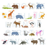 Animal alphabet letters. Cute vector zoo alphabet. Funny cartoon animals stock illustration