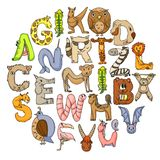 Animal alphabet. Letters from A to Z. Flamingo, giraffe, horse, alligator, bear, cat, dog, elephant. Animal alphabet. Letters from A to Z. Flamingo, giraffe royalty free illustration