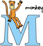 Animal alphabet M (monkey) Stock Photos
