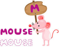 Animal alphabet m with mouse. Illustration of isolated animal alphabet m with mouse Royalty Free Stock Images