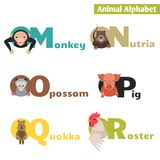 Animal alphabet. M N O P Q R. Letters  Vector Illustration Royalty Free Stock Images